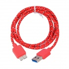 IKKI USB 3.0 Male to Micro 9-Pin Male Woven Mesh Data Charging Cable for Samsung P900 - Red