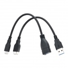 USB 3.0 Male to Micro 9-pin USB Male Data Sync / Charging Cable + Micro 9-pin USB OTG Cable - Black