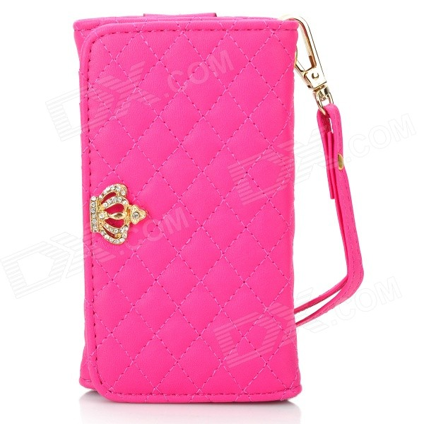Universal Protective PU Case / Wallet for IPHONE 3GS / 4 / 4S / 5 - Deep Pink mercury goospery milano diary wallet leather mobile case for iphone 7 plus 5 5 grey