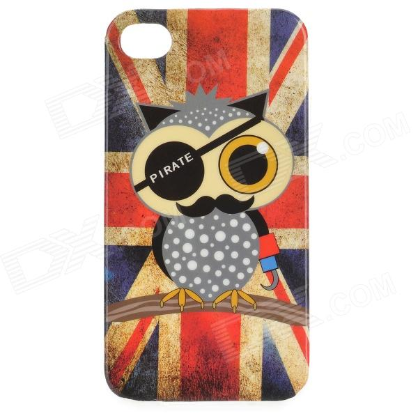 все цены на Graffiti Owl Pirate + UK Flag Pattern Protective PVC Back Case for IPHONE 4 / 4S - Red + Blue онлайн