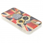 Graffiti Owl Pirate + UK Flag Pattern Protective PVC Back Case for IPHONE 4 / 4S - Red + Blue