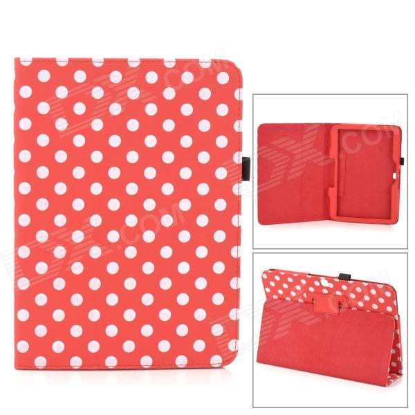 Polka Dot Pattern PU Case w/ Stand + Stylus Pen Set for Samsung Galaxy Tab 3 P5200 - Red + White handpainted cactus and polka dot printed pillow case