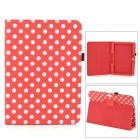 Polka Dot Pattern PU Case w/ Stand + Stylus Pen Set for Samsung Galaxy Tab 3 P5200 - Red + White