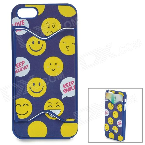 Smile Pattern Protective PC Back Case w/ Card Slot for IPHONE 5 / 5S - Blue + Yellow holes pattern protective tpu back case for iphone 6 plus 5 5 yellow