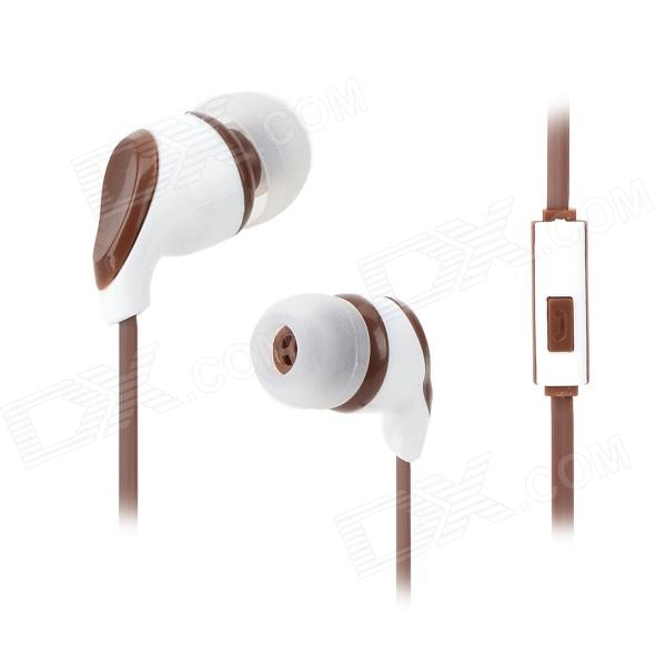 S-What Stylish Universal 3.5mm Jack Wired In-ear Stereo Headset w/ Microphone - Coffee + White gulun gl 777 stylish universal 3 5mm jack wired in ear headset w microphone black brown
