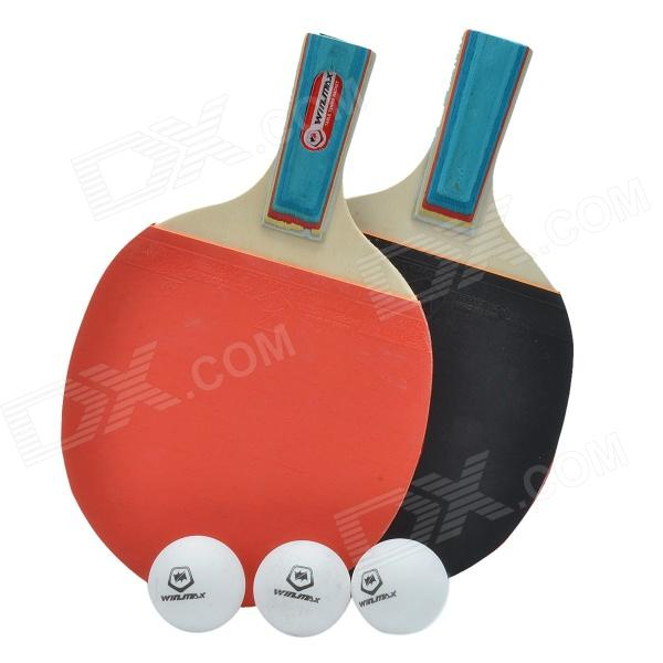 WinMAX CW-106 1 Star Short Footed Dual Table Tennis Paddles w/ 3 Ping-Pong Balls - Red