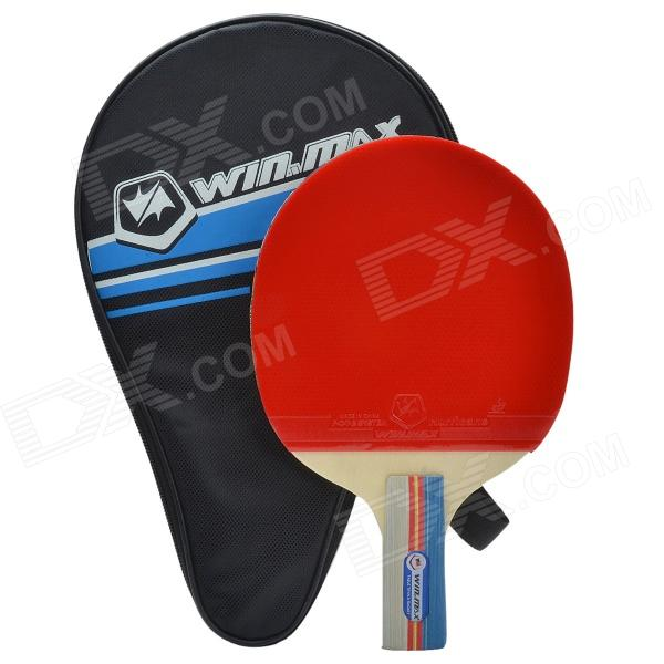 WinMAX W-207 Short Footed Single Table Tennis Bat / Ping-pong Paddle - Red + Black