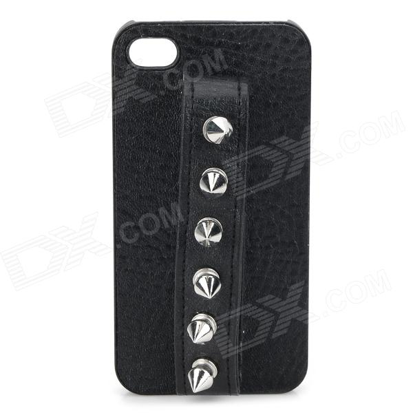Cool Rivet Decorated PU + Zinc Alloy Back Case w/ Handle for IPHONE 4 / 4S - Black + Silver