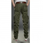 2187 menn Solid Color Multi -pocket Outdoors Cotton Tooling Bukser - Army Grønn ( L)