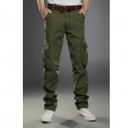 2187 Men's Solid Color Multi-pocket  Outdoors Cotton Tooling Trousers - Army Green (M)
