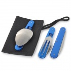 Outdoor Multifunction Stainless Steel Tableware Set - Sapphire + Silver