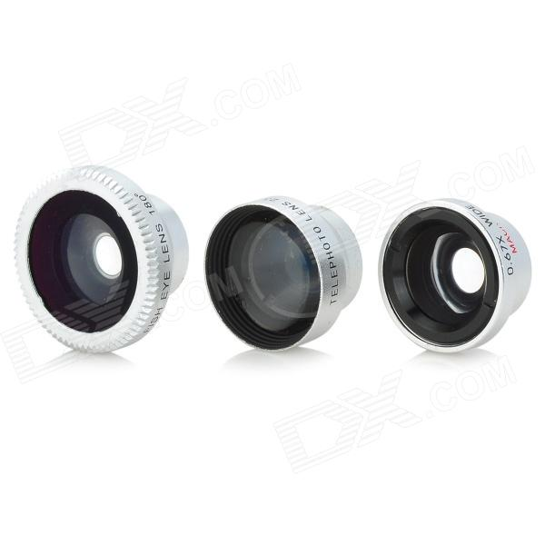 4-in-1 Universal 2X Wide + Fisheye + Macro Lens Set for IPHONE / IPAD / IPOD TOUCH - Silver