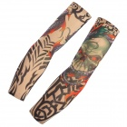 JUQI W36 Anti-UV Tattoo Pattern Seamless Sleeve for Cycling - Blue + Olive Green (2 PCS)