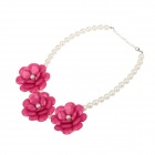 LM026 Flowers Style Fashion Women's Pearl Necklace - White + Deep Pink