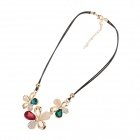 LM24 5-Leaf Opal Zinc Alloy Necklace - Golden + Black