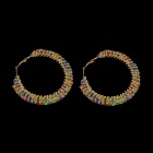 Decorative Rhinestone Circle Earrings - Multicolored