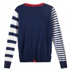 Naval Academy Style Stripe Knitting Cardigan - Blue + White + Red