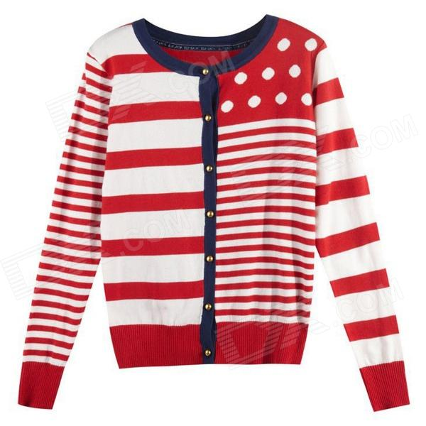 Naval Academy Style Stripe Knitting Cardigan- Red + White