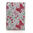 Butterfly Pattern PU Leather Case Cover Stand w/ Auto Sleep for IPAD 2 / 3 / 4 - Red + white + Green