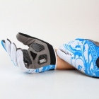 Handskin SKYGF-02 Silicone Bicycle Full-finger Gloves - Sky Blue + White (M / Pair)