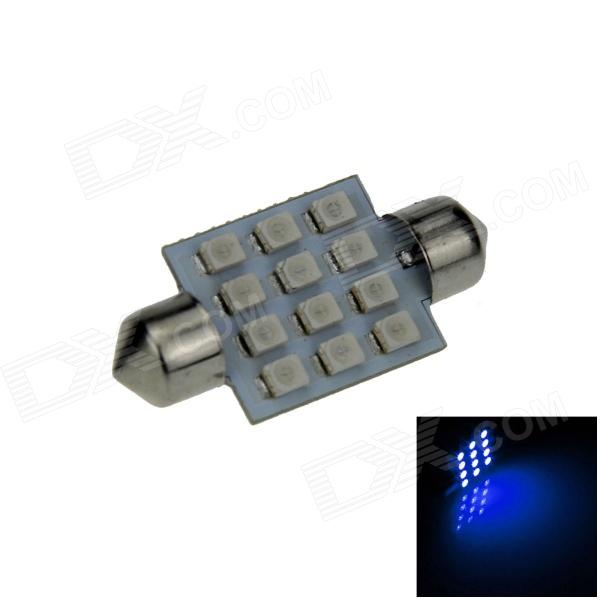 Festoon 36mm 1.2W 120lm 12-SMD 1210 LED Blue Light Car Reading / Roof / Dome Lamp (12V / 2 PCS)