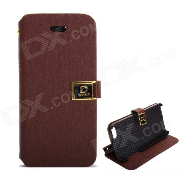 Protective PU Leather Case w/ Dual Card Slots and holder for IPHONE 5 / 5S - Brown шина нулевая на iek din изоляции шни 8х12 12