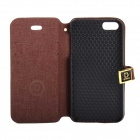 Protective PU Leather Case w/ Dual Card Slots and holder for IPHONE 5 / 5S - Brown