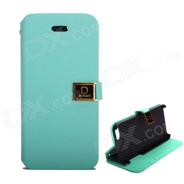 купить Protective PU Leather Case w/ Dual Card Slots and Holder for IPHONE 5 / 5S - Light Blue недорого