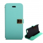Protective PU Leather Case w/ Dual Card Slots and Holder for IPHONE 5 / 5S - Light Blue