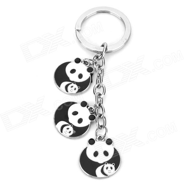 Cute Panda Style Pendant Stainless Steel Key Chain - Black + White