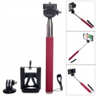 Fat Cat Portable 3-in-1 Monopod for Camera + GoPro Hero + IPHONE + Samsung + SJ4000 - Red + Silver