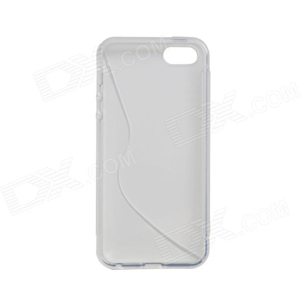 S-Line Style Anti-slip Protective TPU Soft Back Case for IPHONE 5 / 5S - White + Transparent
