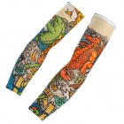 JUQI W71 Anti-UV Tattoo Pattern Seamless Sleeve for Cycling - Green + Black + Multi-Colored (2 PCS)