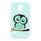 Cute Owl Pattern Protective Silicone Back Case for Samsung Galaxy S5 - Light Green + Black