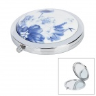 Retro Chinese Lotus Wash Painting Pattern Ceramic Detail Pocket Mirror - White + Blue