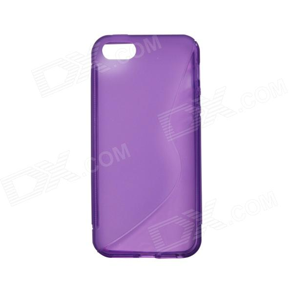 S-Line Style Anti Slip Protective TPU Soft Back Case for IPHONE 5 / 5S - Translucent Purple