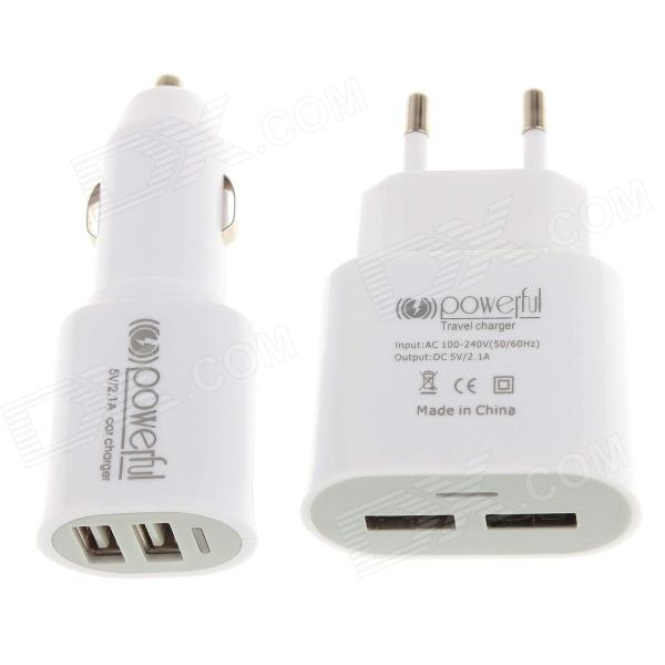 Universal Dual USB Car 5V 2.1A EU Type Adapter + 2.1A Dual USB Car Cigarette Lighter Charger - White mini dual usb car cigarette lighter charger white