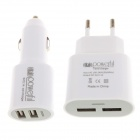 Universal Dual USB Car 5V 2.1A EU Type Adapter + 2.1A Dual USB Car Cigarette Lighter Charger - White