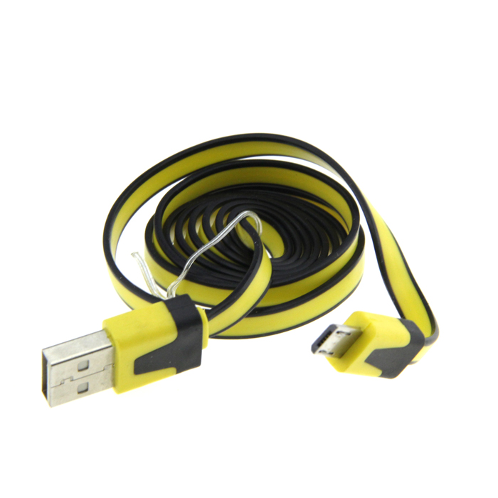 USB to Micro USB Flat Charging/Data Cable for HTC / Samsung / Sony - Black + Light Yellow (100cm) 103b universal usb to micro usb data charging cable for samsung htc more deep pink 100cm