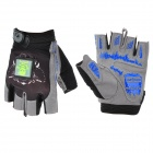 JXL Z01 Outdoor Sports Bicycle Anti-Slip Breathable Half-Finger Gloves w/ LED Indicator - Black (L)
