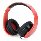 iLeAD Folding Wired Stereo Headphones w/ Microphone - Red + Black (3.5mm Plug / 1.5m)