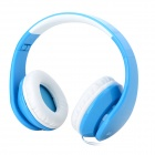iLeAD Folding Wired Stereo Headphones w/ Microphone - Blue + White (3.5mm Plug / 1.5m)