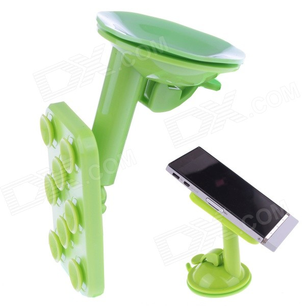 360 Degree Rotation Car Suction Cup Holder Bracket for IPHONE / Samsung / HTC / LG - Green yd2167 k 360 degree rotatable universal suction cup car mount holder bracket for gps pda black