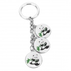 Cute Panda Pattern Pendant Stainless Steel Key Chain - White + Green