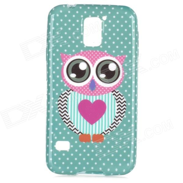 Cute Owl Pattern Protective Silicone Back Case for Samsung Galaxy S5 - Green + Black owl pattern protective tpu back case for samsung galaxy s5 green black