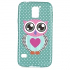 Cute Owl Pattern Protective Silicone Back Case for Samsung Galaxy S5 - Green + Black