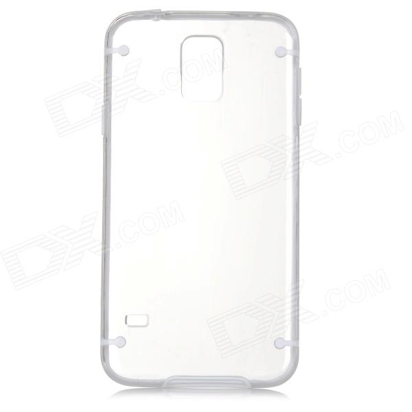 Protective Plastic + TPU Back Case for Samsung Galaxy S5 - Transparent + White protective plastic back case for samsung galaxy s5 mini black