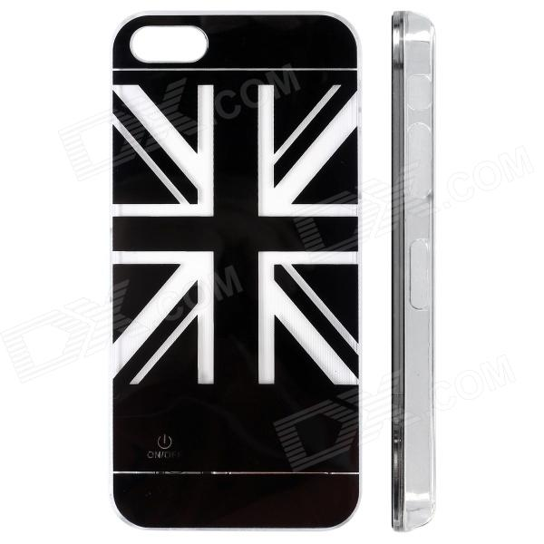 UK Flag Pattern LED Flash Color Changing Protective ABS Back Case for IPHONE 5 / 5S - Black zh01 good luck dragon pattern led flash light color changing protective back case for iphone 4 4s