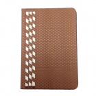 Upscale Protective Bamboo Weaving PU + ABS Case w/ Stand for IPAD MINI - Coffee
