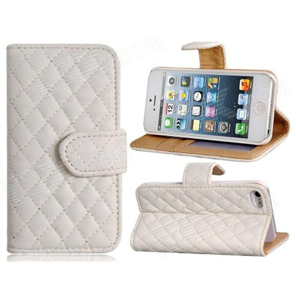 Plaid Pattern Protective PU Flip-Open Case w/ Stand / Card Slots for IPHONE 5 / 5S - White plaid pattern protective pu flip open case w stand card slots for iphone 5 5s white